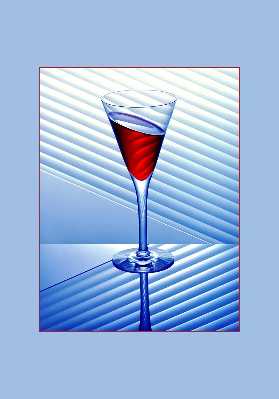 Glaasje blauw